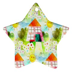 Summer House And Garden A Completely Seamless Tile Able Background Ornament (star) by Simbadda