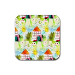 Summer House And Garden A Completely Seamless Tile Able Background Rubber Square Coaster (4 Pack)  by Simbadda