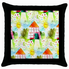 Summer House And Garden A Completely Seamless Tile Able Background Throw Pillow Case (black) by Simbadda