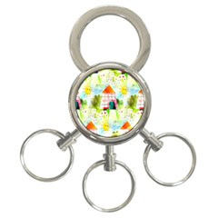 Summer House And Garden A Completely Seamless Tile Able Background 3 Ring Key Chains by Simbadda