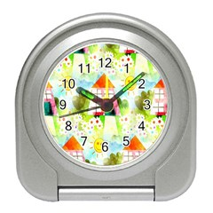 Summer House And Garden A Completely Seamless Tile Able Background Travel Alarm Clocks by Simbadda