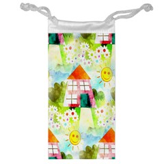 Summer House And Garden A Completely Seamless Tile Able Background Jewelry Bag by Simbadda