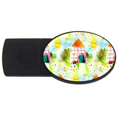 Summer House And Garden A Completely Seamless Tile Able Background Usb Flash Drive Oval (4 Gb) by Simbadda