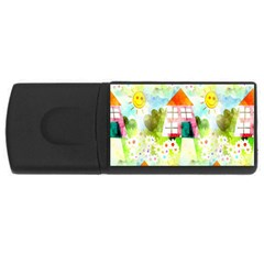 Summer House And Garden A Completely Seamless Tile Able Background Usb Flash Drive Rectangular (4 Gb) by Simbadda