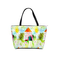 Summer House And Garden A Completely Seamless Tile Able Background Shoulder Handbags by Simbadda