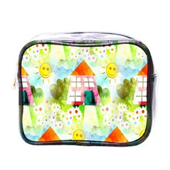 Summer House And Garden A Completely Seamless Tile Able Background Mini Toiletries Bags by Simbadda