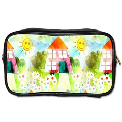 Summer House And Garden A Completely Seamless Tile Able Background Toiletries Bags 2 Side by Simbadda