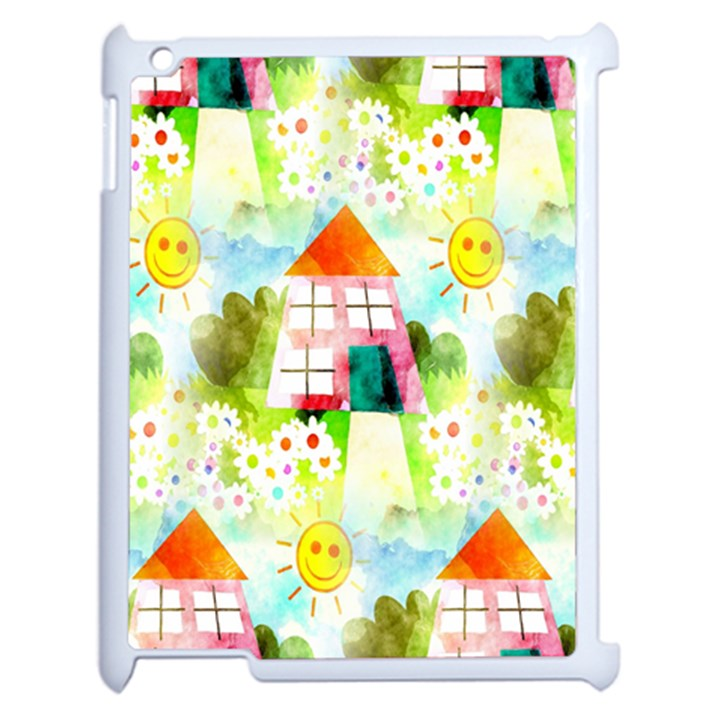 Summer House And Garden A Completely Seamless Tile Able Background Apple iPad 2 Case (White)