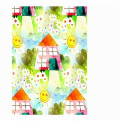 Summer House And Garden A Completely Seamless Tile Able Background Small Garden Flag (two Sides) by Simbadda