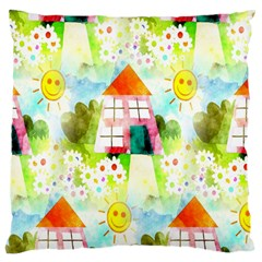 Summer House And Garden A Completely Seamless Tile Able Background Large Cushion Case (two Sides) by Simbadda
