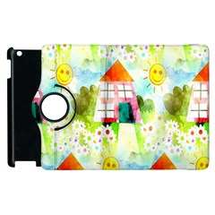Summer House And Garden A Completely Seamless Tile Able Background Apple Ipad 2 Flip 360 Case by Simbadda