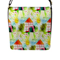 Summer House And Garden A Completely Seamless Tile Able Background Flap Messenger Bag (l)  by Simbadda