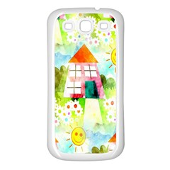 Summer House And Garden A Completely Seamless Tile Able Background Samsung Galaxy S3 Back Case (white) by Simbadda