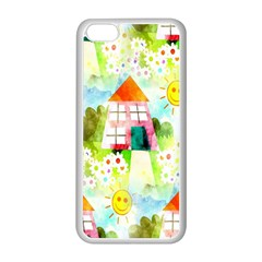 Summer House And Garden A Completely Seamless Tile Able Background Apple Iphone 5c Seamless Case (white) by Simbadda