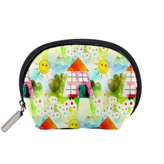 Summer House And Garden A Completely Seamless Tile Able Background Accessory Pouches (small)  by Simbadda