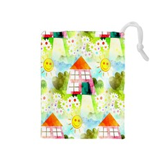 Summer House And Garden A Completely Seamless Tile Able Background Drawstring Pouches (medium)  by Simbadda