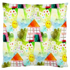 Summer House And Garden A Completely Seamless Tile Able Background Standard Flano Cushion Case (one Side) by Simbadda
