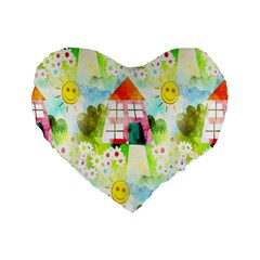 Summer House And Garden A Completely Seamless Tile Able Background Standard 16  Premium Flano Heart Shape Cushions by Simbadda