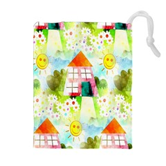 Summer House And Garden A Completely Seamless Tile Able Background Drawstring Pouches (extra Large) by Simbadda