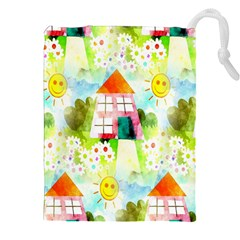 Summer House And Garden A Completely Seamless Tile Able Background Drawstring Pouches (xxl) by Simbadda