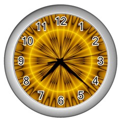 Fractal Yellow Kaleidoscope Lyapunov Wall Clocks (silver)  by Simbadda