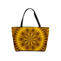 Fractal Yellow Kaleidoscope Lyapunov Shoulder Handbags by Simbadda