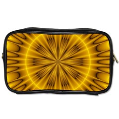 Fractal Yellow Kaleidoscope Lyapunov Toiletries Bags by Simbadda