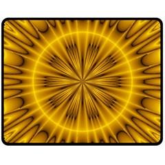 Fractal Yellow Kaleidoscope Lyapunov Double Sided Fleece Blanket (medium)  by Simbadda