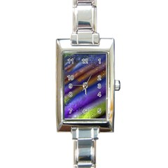 Fractal Color Stripes Rectangle Italian Charm Watch by Simbadda