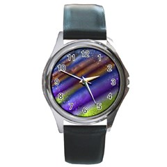 Fractal Color Stripes Round Metal Watch
