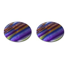 Fractal Color Stripes Cufflinks (oval) by Simbadda