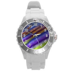 Fractal Color Stripes Round Plastic Sport Watch (l) by Simbadda
