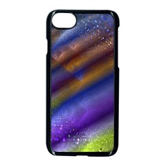 Fractal Color Stripes Apple Iphone 7 Seamless Case (black) by Simbadda