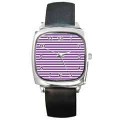 Horizontal Stripes Purple Square Metal Watch by Mariart