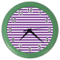 Horizontal Stripes Purple Color Wall Clocks by Mariart