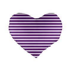 Horizontal Stripes Purple Standard 16  Premium Heart Shape Cushions