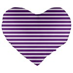 Horizontal Stripes Purple Large 19  Premium Heart Shape Cushions Front
