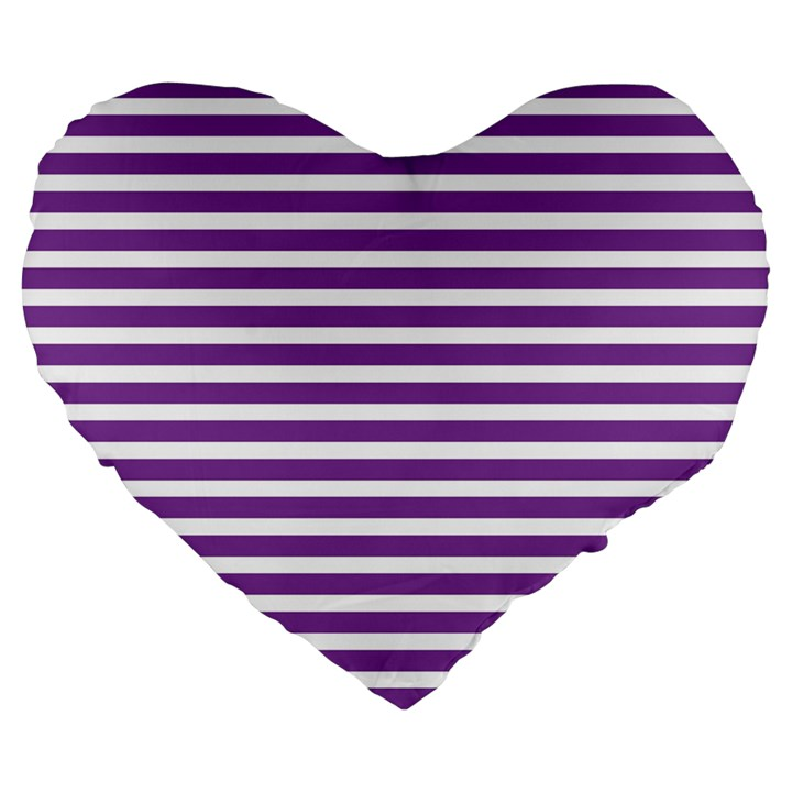 Horizontal Stripes Purple Large 19  Premium Heart Shape Cushions