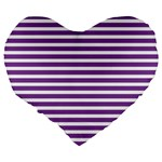 Horizontal Stripes Purple Large 19  Premium Heart Shape Cushions Back