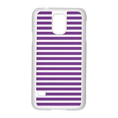 Horizontal Stripes Purple Samsung Galaxy S5 Case (white)