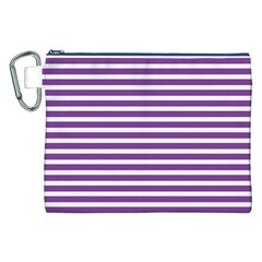 Horizontal Stripes Purple Canvas Cosmetic Bag (xxl) by Mariart