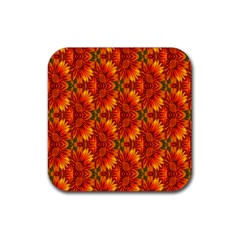 Background Flower Fractal Rubber Square Coaster (4 Pack)  by Simbadda