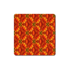 Background Flower Fractal Square Magnet