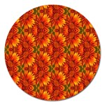 Background Flower Fractal Magnet 5  (Round) Front