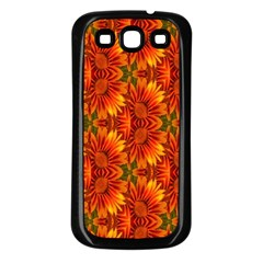 Background Flower Fractal Samsung Galaxy S3 Back Case (black) by Simbadda