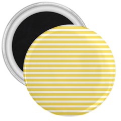 Horizontal Stripes Yellow 3  Magnets