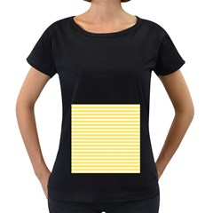 Horizontal Stripes Yellow Women s Loose Fit T Shirt (black)