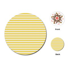 Horizontal Stripes Yellow Playing Cards (round)