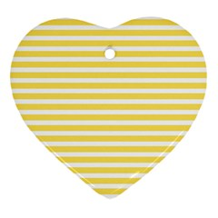 Horizontal Stripes Yellow Heart Ornament (two Sides) by Mariart