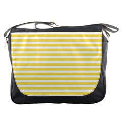 Horizontal Stripes Yellow Messenger Bags by Mariart
